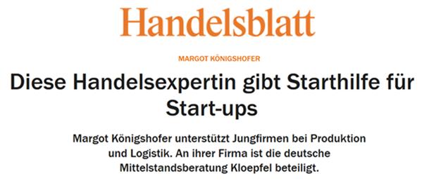 """Handelsblatt: """"Einkaufsspezialist gibt Startups Starthilfe"""""""