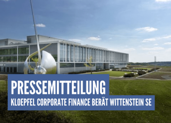 Kloepfel Corporate Finance berät exklusiv WITTENSTEIN SE