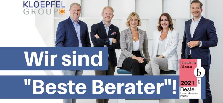 """Kloepfel Consulting im sechsten Jahr in Folge als """"Beste Berater"""" ausgezeichnet"""